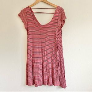 American Eagle Red Striped Shift Dress